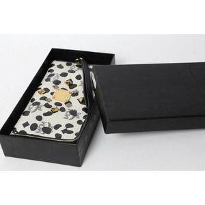 MCM White Black Studded Leather Zip Around Wallet